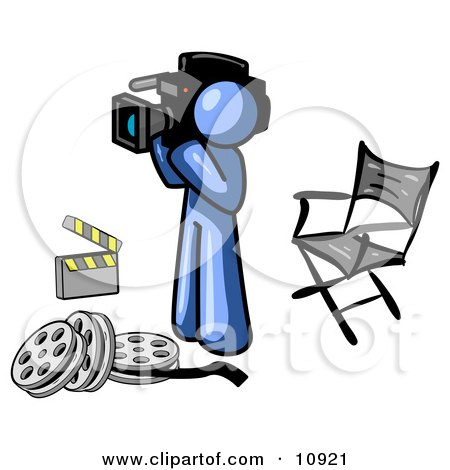 Blue Man Filming a Movie Scene With a Video Camera in a Studio Posters, Art Prints