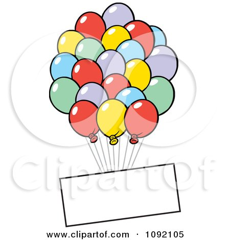 Clipart Blank Sign Floating With Party Balloons - Royalty Free Vector Illustration by Johnny Sajem