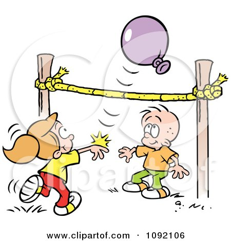 Clipart Boy And Girl Playing Balloon Volleyball - Royalty Free Vector Illustration by Johnny Sajem