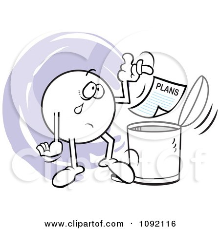 Clipart Moodie Character Crying And Tossing Plans In The Trash Can - Royalty Free Vector Illustration by Johnny Sajem