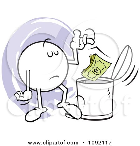 Clipart Moodie Character Tossing Dollars In The Trash Can - Royalty Free Vector Illustration by Johnny Sajem