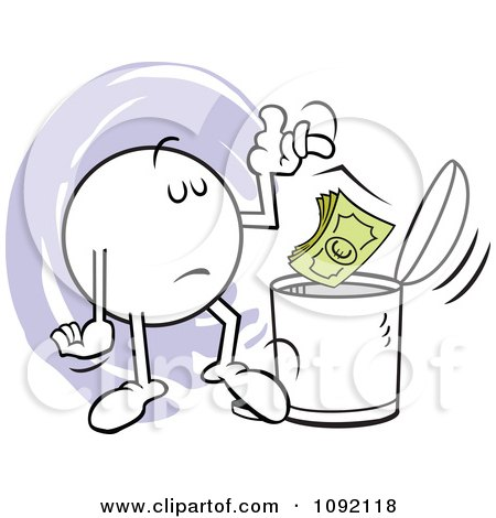 Clipart Moodie Character Tossing Euros In The Trash Can - Royalty Free Vector Illustration by Johnny Sajem