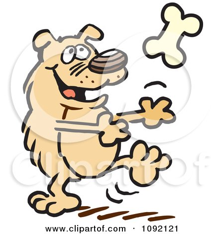 Clipart Happy Dog Catching A Bone - Royalty Free Vector Illustration by Johnny Sajem
