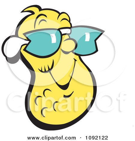 Clipart Cool Yellow Peanut Wearing Shades - Royalty Free Vector Illustration by Johnny Sajem