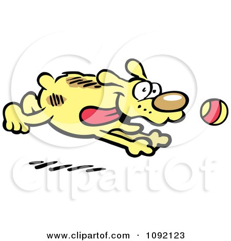 Clipart Happy Dog Chasing A Ball - Royalty Free Vector Illustration by Johnny Sajem