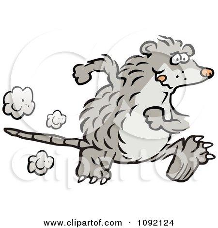 Clipart Possum Running Upright - Royalty Free Vector Illustration by Johnny Sajem