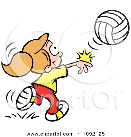 Clipart Athletic Girl Whacking A Volleyball - Royalty Free Vector Illustration by Johnny Sajem