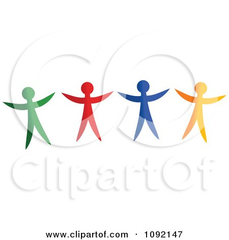Clipart Happy Green Red Blue And Yellow People - Royalty Free Vector Illustration by Prawny