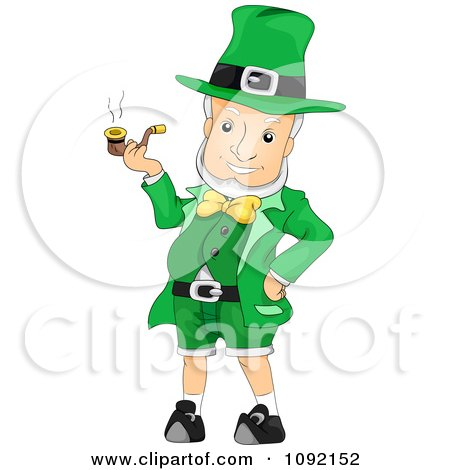 Clipart Cheery Leprechaun Smoking A Pipe - Royalty Free Vector Illustration by BNP Design Studio