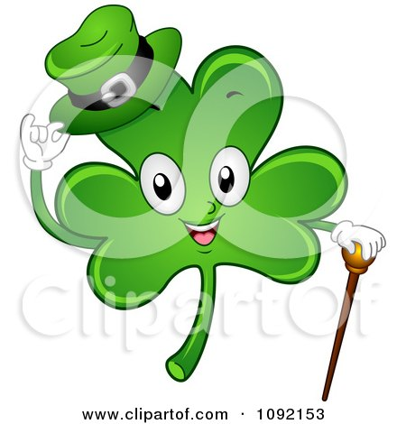 Clipart Happy St Patricks Day Shamrock With A Cane And Hat Royalty Free Vector Illustration