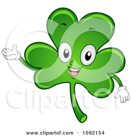 Clipart Happy St Patricks Day Shamrock Waving - Royalty Free Vector Illustration by BNP Design Studio