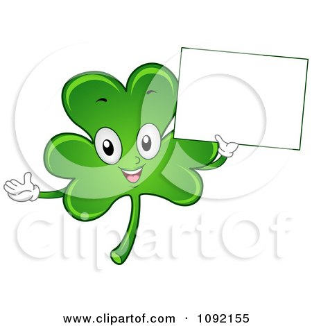 Clipart Happy St Patricks Day Shamrock Holding A Sign - Royalty Free Vector Illustration by BNP Design Studio