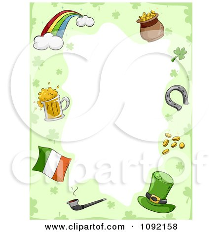 Clipart St Patricks Day Border Of Holiday Items With Copyspace - Royalty Free Vector Illustration by BNP Design Studio