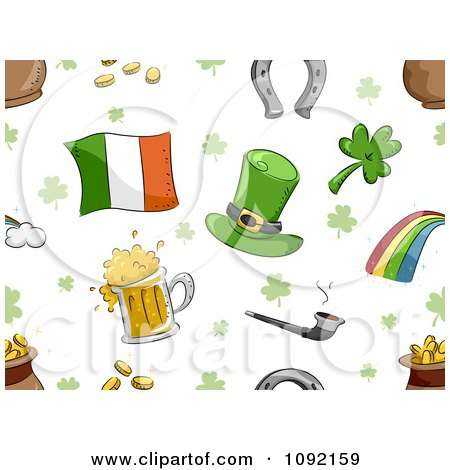 Clipart Seamless St Patricks Day Background Of Items On White - Royalty Free Vector Illustration by BNP Design Studio