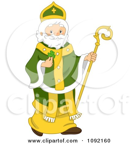 Clipart St Patrick Holding A Clover And Staff - Royalty Free Vector Illustration by BNP Design Studio