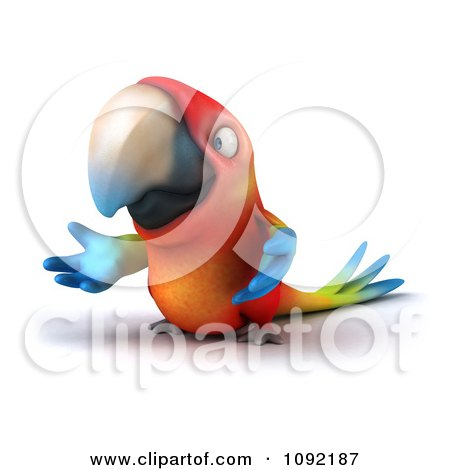 Clipart 3d Macaw Parrot Presenting 2 - Royalty Free CGI Illustration by Julos