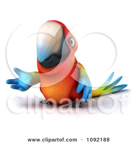 Clipart 3d Macaw Parrot Presenting 3 - Royalty Free CGI Illustration by Julos