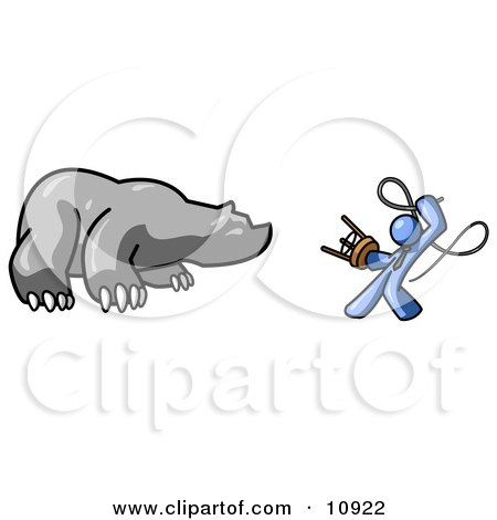 Blue Man Holding a Stool and Whip While Taming a Bear, Bear Market Clipart Illustration by Leo Blanchette