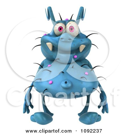 Clipart 3d Blue Rodney Germ Facing Front - Royalty Free CGI Illustration by Julos