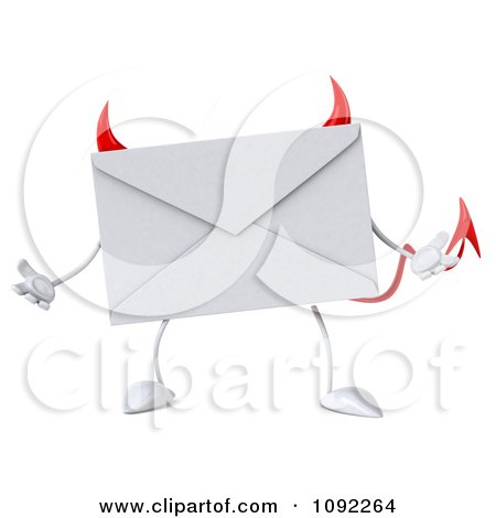 Clipart 3d Devil Email Envelope Character Shrugging - Royalty Free CGI Illustration by Julos