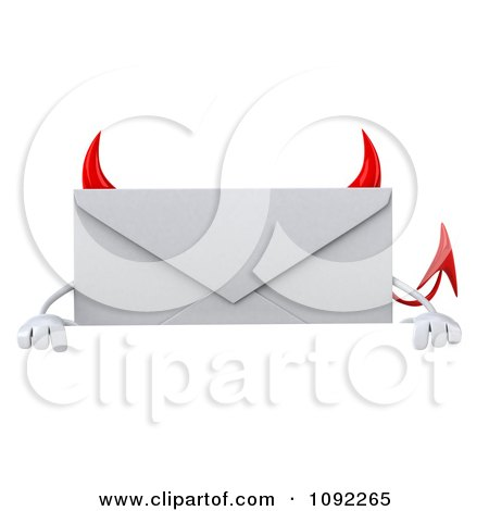 Clipart 3d Devil Email Envelope Character Over A Sign - Royalty Free CGI Illustration by Julos
