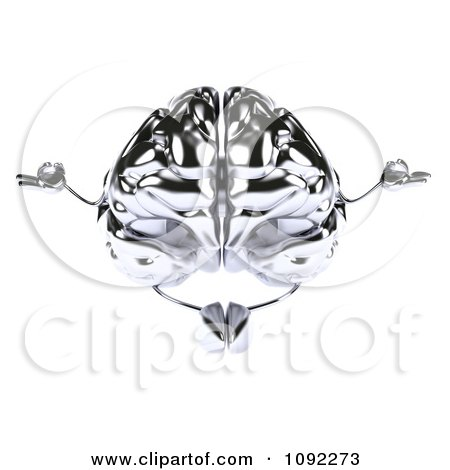 Clipart 3d Brain Character Meditating - Royalty Free CGI Illustration by Julos
