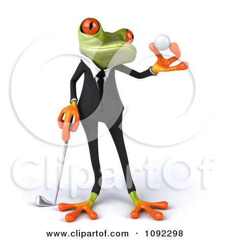 Clipart 3d Golfer Business Springer Frog Holding A Ball 2 - Royalty Free CGI Illustration by Julos