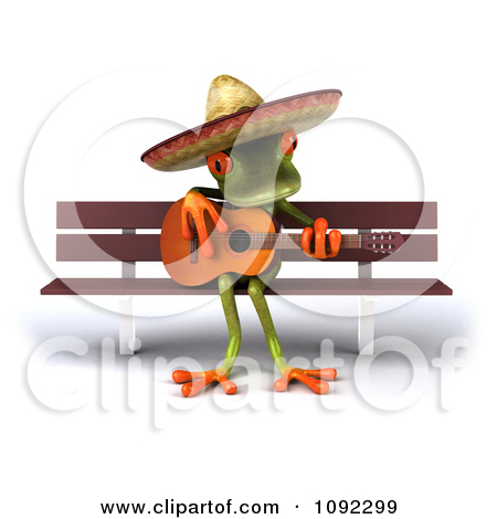 Clipart 3d Busker Mexican Guitarist Frog Playing On A