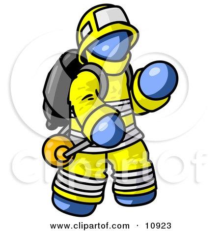 Blue Fireman in a Uniform, Fighting a Fire Posters, Art Prints