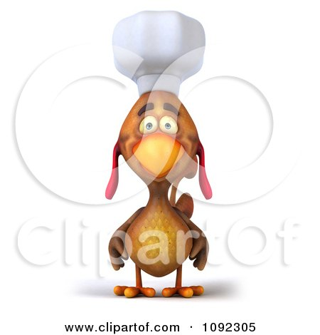 3d Chef Chicken Facing Front Posters, Art Prints