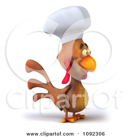 Clipart 3d Chef Chicken Facing Right - Royalty Free CGI Illustration by Julos