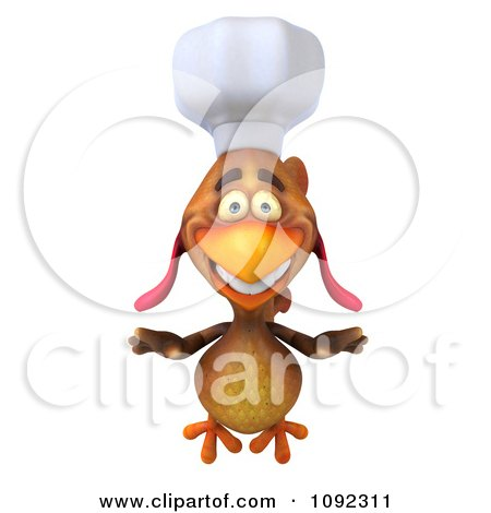 3d Chef Chicken Flying 1 Posters, Art Prints