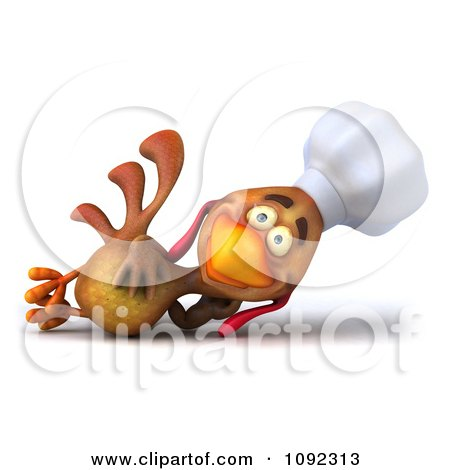 Clipart 3d Chef Chicken Reclining - Royalty Free CGI Illustration by Julos
