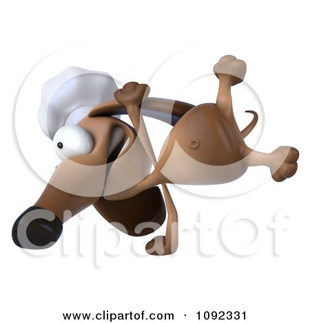 Clipart 3d Chef Dachshund Dog Cartwheeling - Royalty Free CGI Illustration by Julos