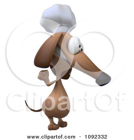Clipart 3d Chef Dachshund Dog Facing Right And Waving - Royalty Free CGI Illustration by Julos