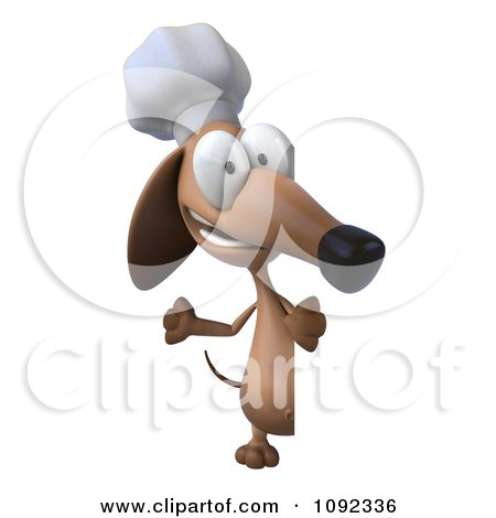Clipart 3d Chef Dachshund Dog With A Sign Board 2 - Royalty Free CGI Illustration by Julos
