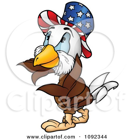 Clipart American Bald Eagle Wearing An Uncle Sam Hat - Royalty Free Vector Illustration by dero