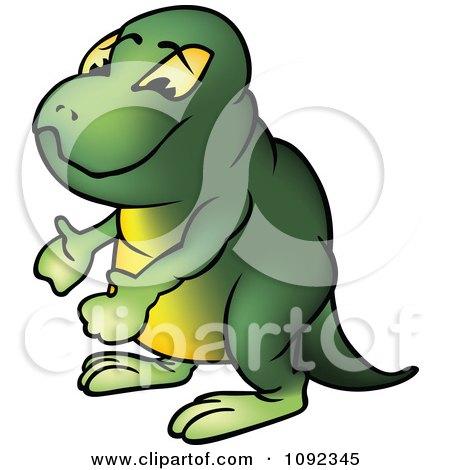 Clipart Green Brontosaurus Gesturing - Royalty Free Vector Illustration by dero