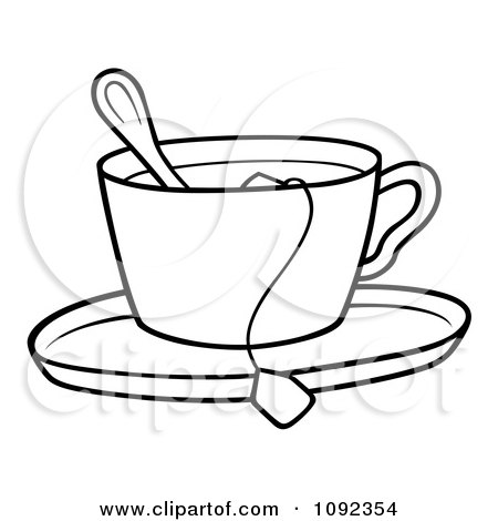 Clipart outlined tea cup with a spoon bag and saucer for Cup picture for colouring