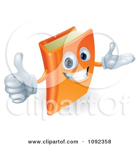 Clipart 3d Orange Book Character Smiling And Holding A Thumb Up - Royalty Free Vector Illustration by AtStockIllustration
