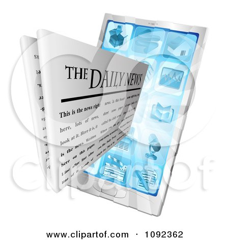 Clipart 3d Daily Newspaper Emerging From A Cell Phone - Royalty Free Vector Illustration by AtStockIllustration