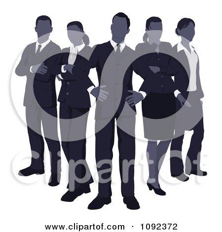 Clipart Blue Faceless Business Team Standing In V Formation - Royalty Free Vector Illustration by AtStockIllustration
