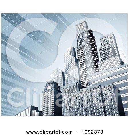 Clipart 3d Blue Urban Office Skyskrapers With A Solar Panel Sky - Royalty Free Vector Illustration by AtStockIllustration