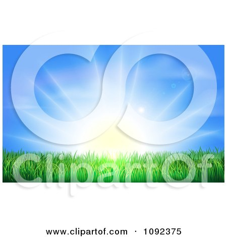 Clipart The Sun Shining Brightly Over Green Grass - Royalty Free Vector Illustration by AtStockIllustration