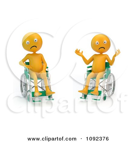 Clipart Two 3d Stressed And Upset Orange People In Wheelchairs 2 - Royalty Free CGI Illustration by Mopic