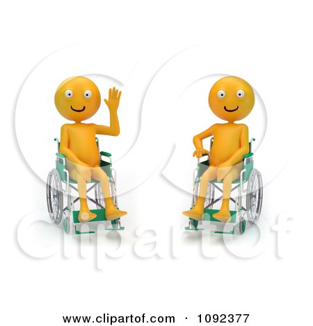 Clipart Two 3d Happy And Waving Orange People In Wheelchairs 2 - Royalty Free CGI Illustration by Mopic