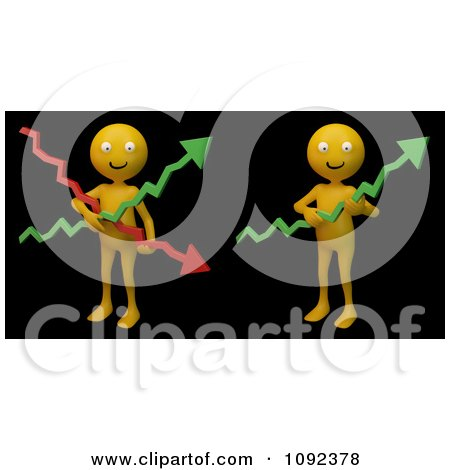 Clipart 3d Happy Orange People Holding Financial Graph Arrows On Black - Royalty Free CGI Illustration by Mopic