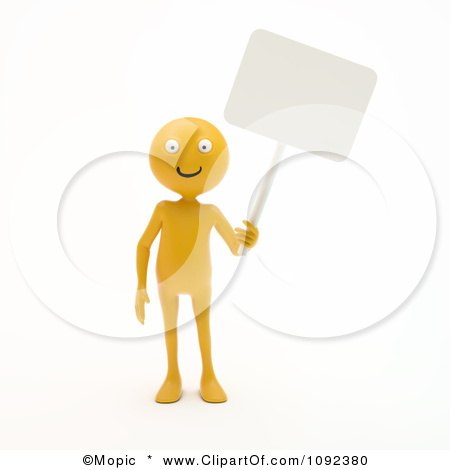 Clipart 3d Happy Orange Person Holding A Blank Sign - Royalty Free CGI Illustration by Mopic