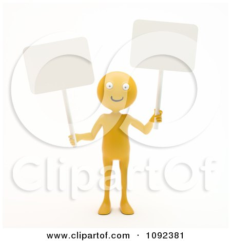 Clipart 3d Happy Orange Person Holding Two Blank Signs - Royalty Free CGI Illustration by Mopic