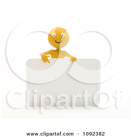 Clipart 3d Happy Orange Person Presenting A Blank Sign 1 - Royalty Free CGI Illustration by Mopic